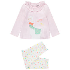 Pyjama en jersey avec lama brodé et détails en relief