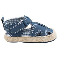 Soepele sandalen met voering van vichy en zool met stro-effect