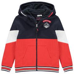 Junior - Vest met kap van molton met sherpavoering
