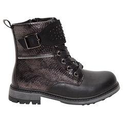 Zwarte boots met krokodillenledereffect en strassteentjes