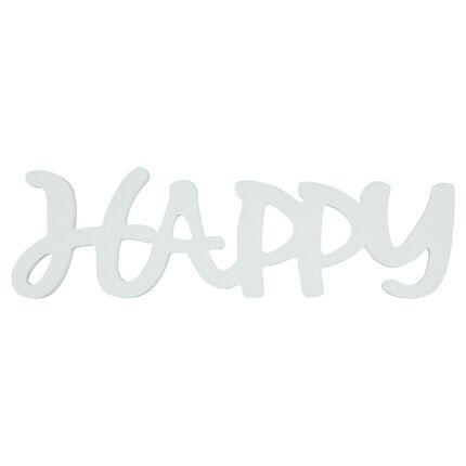 """Het woord """"HAPPY"""" in geschilderd hout"""