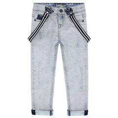 Jeans met used effect en elastische, afneembare schouderbandjes