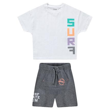 """Ensemble avec tee-shirt print """"surf"""" et bermuda à poche kangourou"""