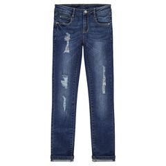 Junior - Jeans effet used et crinkle avec déchirures doublées