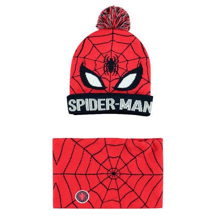 Ensemble bonnet et snood en tricot avec motif ©Marvel Spiderman en jacquard 6f791f9fa6f