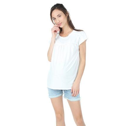 Tee-shirt manches courtes de grossesse avec fronces et jeu de plis