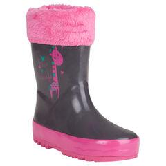 Boots in grijze kleur in imitatiebont met omslag