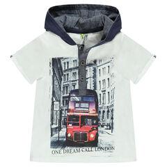 Tee-shirt à capuche print bus londonien