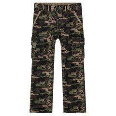 Pantalon en twill motif army à poches