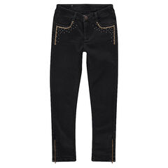 Junior - Slim fit jeans met used effect en decoratieve studs