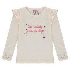 T-shirt met lange mouwen en boodschap met geprinte sterren