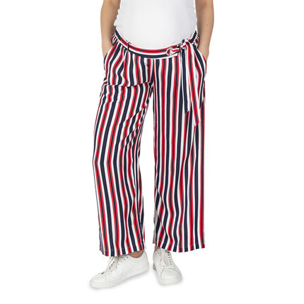 Pantalon palazzo de grossesse à rayures verticales