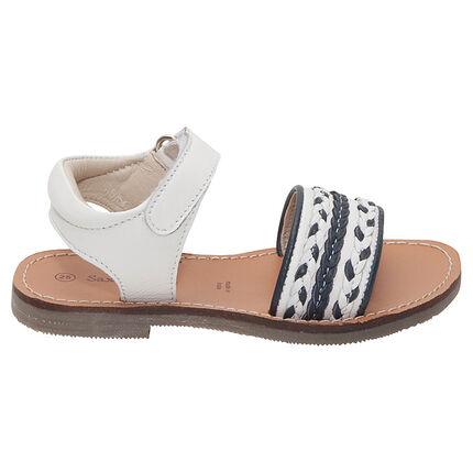 Nu-pieds en cuir avec bride à tresses contrastées