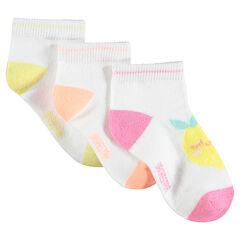 Set met 3 paar matching sokken met fruit van jacquard