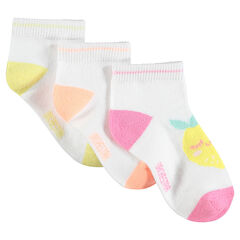 Lot de 3 paires de chaussettes assorties avec fruits en jacquard