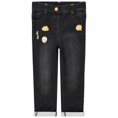 Jeans met used effect en geborduurde Smiley-badges