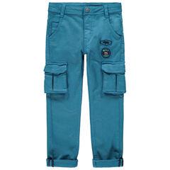Pantalon cargo à badges et poches
