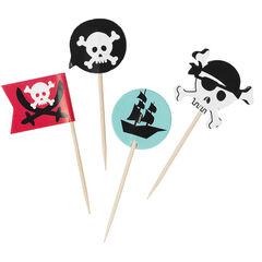 x 10 piques à gateau en bois Pirate
