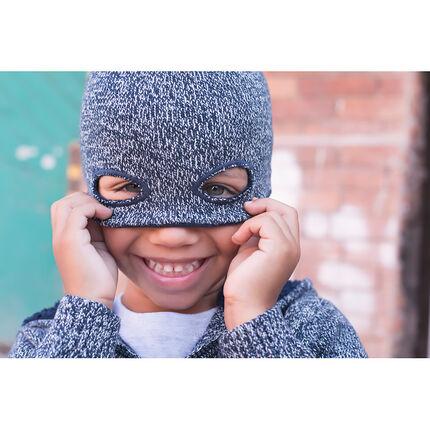 Muts van gemêleerdee tricot met maskereffect