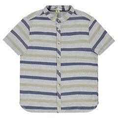 Junior - Gestreept hemd met korte mouwen uit decoratief, gestreept katoen met maokraag