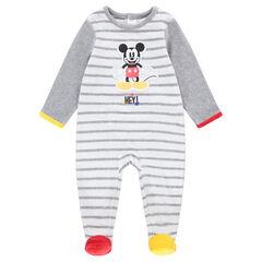Gestreepte ©Disney pyjama van velours met Mickeypatch