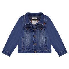 Veste en jeans effet used avec broderies et oiseaux en sequins