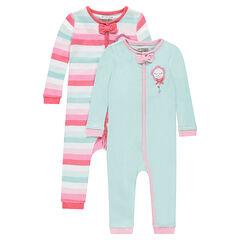 Set van 2 pyjama's uit jerseystof met rits