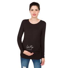 Zwangerschaps-T-shirt met lange mouwen van effen jerseystof. , Prémaman