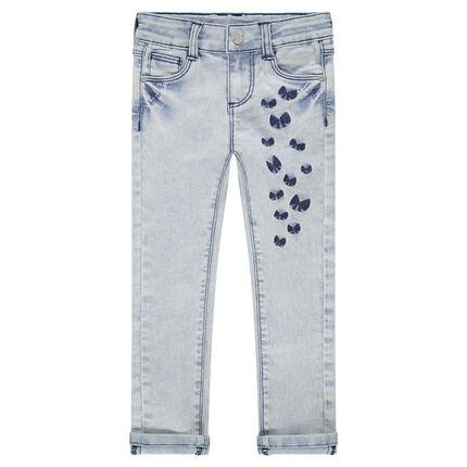 Jeans met used en crinkle-effect en geborduurde strikken