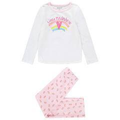Pyjama van velours met regenboogprints