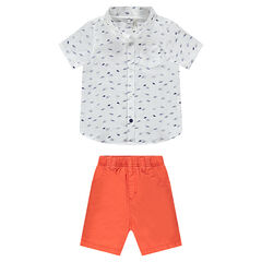 Ensemble van hemd met print en koraalrode bermuda