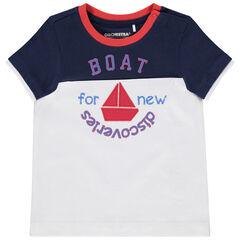T-shirt manches courtes bicolore en coton bio à bateau brodé