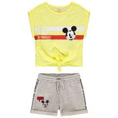 Ensemble avec t-shirt manches courtes à nouer et short print Mickey Disney , Orchestra