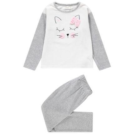 Pyjama en velours avec chat brodé et noeud