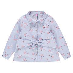 """Katoenen hemd met lange mouwen en print met vogels """"all-over"""""""