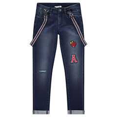 Junior - Jeans met used effect en gestreepte, afneembare schouderbandjes en badges