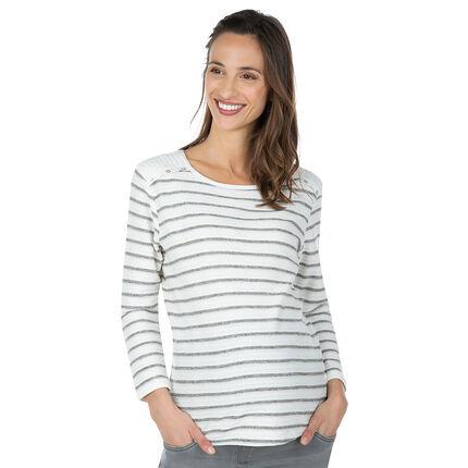 Zwangerschapsmarinetruitje met fantasieën aan de schouders