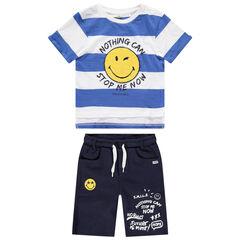 Ensemble avec t-shirt rayé Smiley en bouclette et bermuda printé