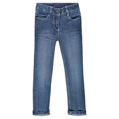 Slimfit denimjeans met used effect