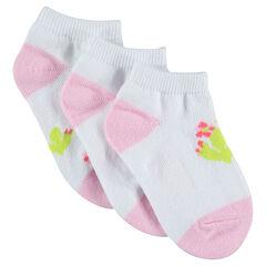Lot de 3 paires de chaussettes courtes avec motif cactus
