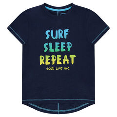 T-shirt met lange mouwen uit jerseystof met print met boodschap
