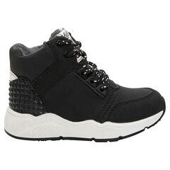 Hoge sneakers met veters en ritssluiting, inzetstuk met nageleffect