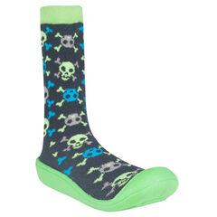 Chaussons forme chaussettes imprimés têtes de mort