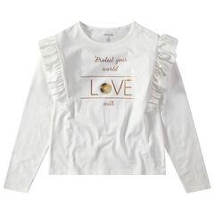 Junior - T-shirt met lange mouwen met volants en print met gouden boodschap