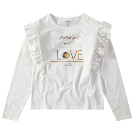 Junior - T-shirt manches longues volantées avec message doré printé