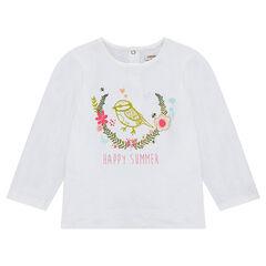 T-shirt met lange mouwen van effen jerseystof met print