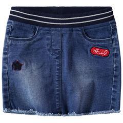 Jupe en jean effet used avec taille élastiquée à rayures argentées