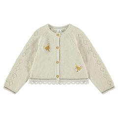 Gilet en tricot avec faons brodés et galon en dentelle