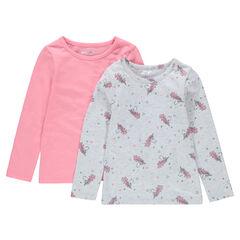 Lot de 2 tee-shirts manches longues en jersey imprimé licornes/uni