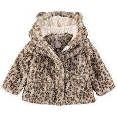 Mantel van namaak luipaardbont met oren aan de kap
